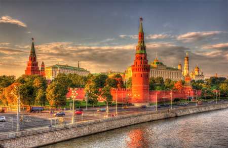 Evening view of Moscow Kremlin, Russia photo