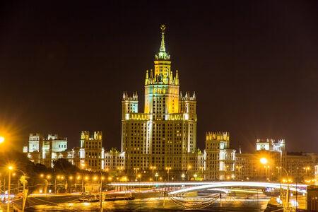 kotelnicheskaya embankment: Kotelnicheskaya Embankment Building in Moscow at night