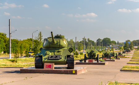 Tank T-34-85 and cannons in Kursk, Russia