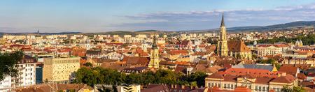 cluj: Panoramic view of Cluj-Napoca in Romania Stock Photo