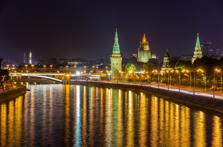 View of Moscow Kremlin by night - Russia photo
