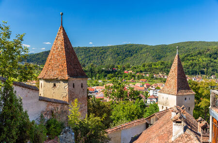 Defensive walls of Sighisoara, Romania photo