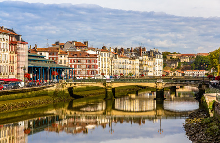 aquitaine: Buildings at the embankment of Bayonne - France, Aquitaine