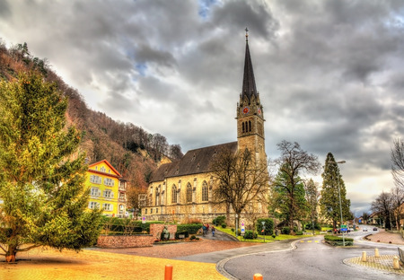 florin: View of Cathedral of St. Florin in Vaduz - Liechtenstein
