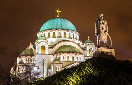 serbia xmas: Karadjordje Monument and the Church of Saint Sava in Belgrade, Serbia