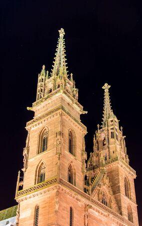 minster: Basel Minster by night - Switzerland Stock Photo