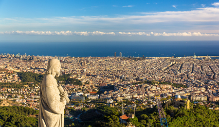 apostle: Sculpture of Apostle and view of Barcelona