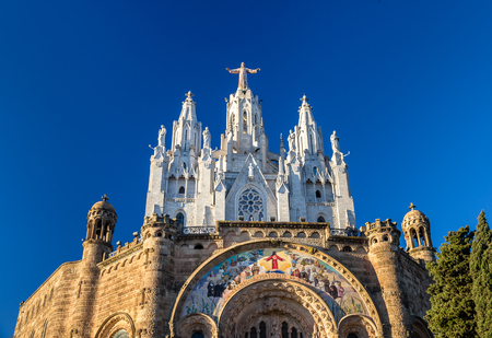 cor: Temple Expiatori del Sagrat Cor on Tibidabo mountain in Barcelona, Spain
