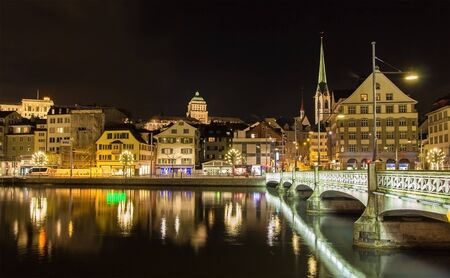 old building facade: Old town of Zurich at night - Switzerland Stock Photo