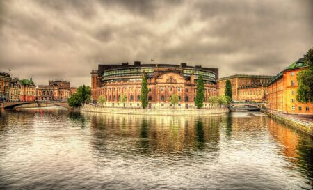 Swedish Parliament building in Stockholm photo