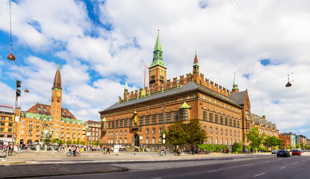 View of Copenhagen city hall, Denmark 스톡 콘텐츠