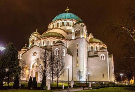 serbia xmas: The Saint Sava Cathedral in Belgrade Stock Photo