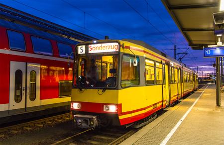 karlsruhe: Tram-train at Karlsruhe railway station - Germany