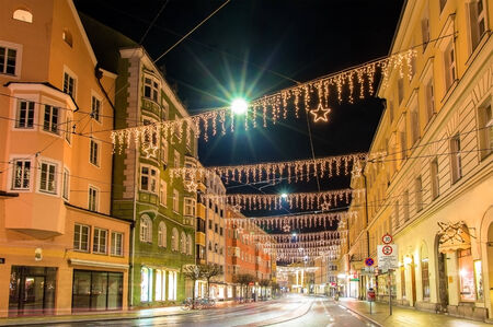 A street in the center of Innsbruck on Christmas photo