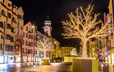 tyrol: Christmas decorations in Innsbruck - Austria Stock Photo