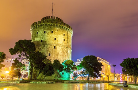 greece: White Tower of Thessaloniki in Greece at night