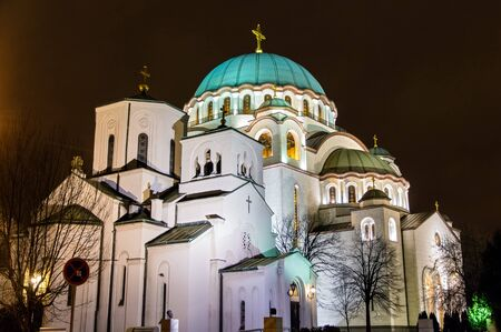 serbia xmas: The Little and the main churches of Saint Sava Cathedral in Belgrade