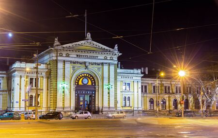 serbia xmas: Belgrade Main Railway Station at night - Serbia