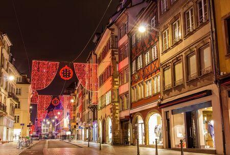 Rue du Vieux Marche aux Poissons on the Christmas season 2014 in Strasbourg photo