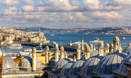 Vew of the Bosphorus strait from the Sueymaniye Mosque in Istanbul photo