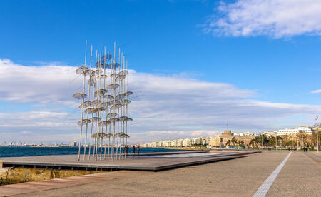 seafront: View of seafront in Thessaloniki - Greece Stock Photo