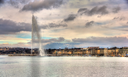 View of Geneva with the Jet dEau fountain - Switzerland Stock Photo