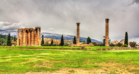 olympian: Temple of Olympian Zeus in Athens - Greece Stock Photo