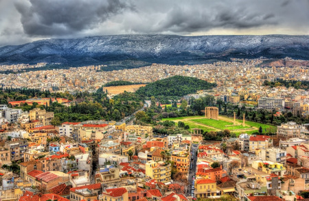 olympian: Aerial view of Athens with the Temple of Olympian Zeus
