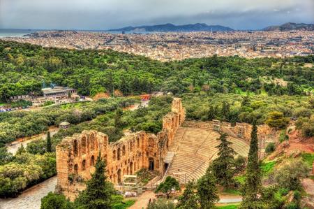 teatro antiguo: Ode�n de Herodes Atticus, un antiguo teatro en Atenas, Grecia Foto de archivo