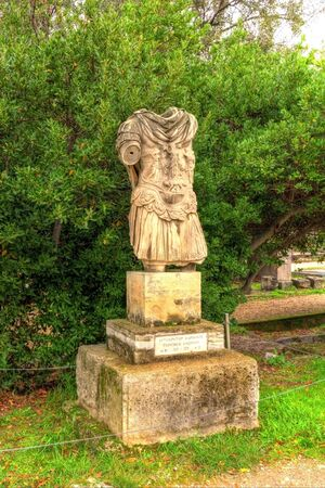 hadrian: Statue of Hadrian in the Ancient Agora of Athens Stock Photo