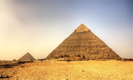 chephren: Pyramid of Khafre (Pyramid of Chephren) in Giza - Egypt Stock Photo