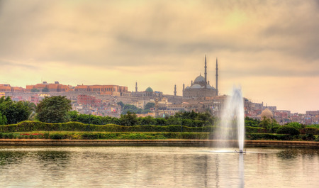 egypt: View of the Citadel with Muhammad Ali Mosque from Al-Azhar Park - Cairo, Egypt Stock Photo