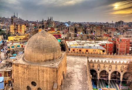Weergave van Cairo van dak van Amir al-Maridani moskee - Egypte