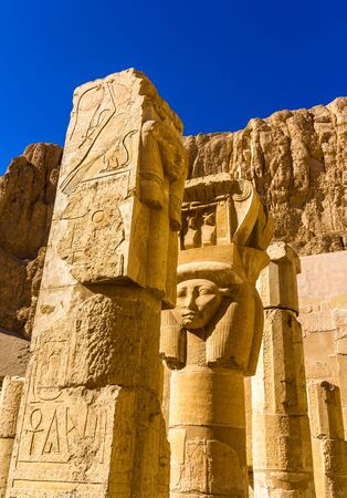mortuary: Ancient sculptures in the Mortuary temple of Hatshepsut - Egypt