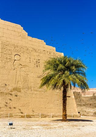 3rd ancient: At the entrace of the Medinet Habu temple - Egypt