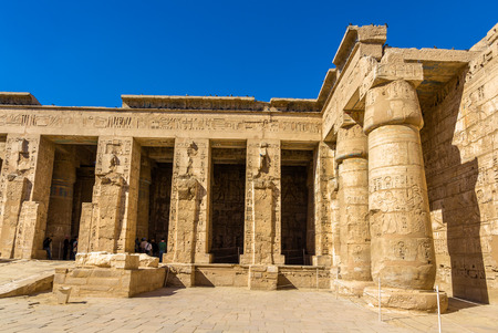 funerary: Ancient columns in the Medinet Habu Temple - Egypt Stock Photo