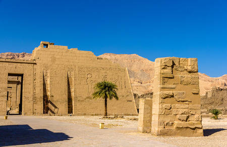 3rd ancient: View of the mortuary Temple of Ramses III near Luxor in Egypt