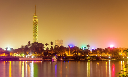 temple tower: View of the Cairo tower in the evening - Egypt