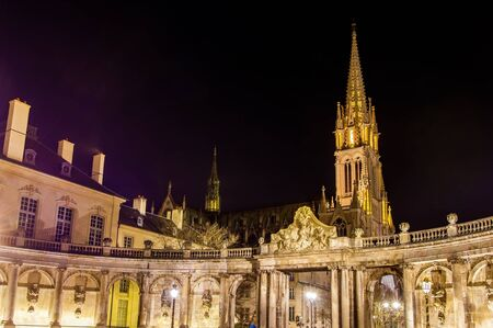 neogothic: View of Saint Epvre basilica in Nancy at night - France, Lorraine Stock Photo