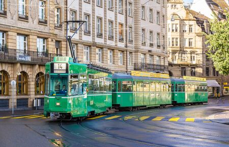 BASEL, SWITZERLAND - NOVEMBER 03: Be 44 SWP tram in the city center on November 03, 2013 in Basel, Switzerland. Basel tram network consists of 12 lines