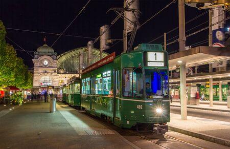 BASEL, SWITZERLAND - NOVEMBER 03: An old tram at the Basel Bahnhof SBB station on November 03, 2013 in Basel, Switzerland. Basel tram network consists of 12 lines