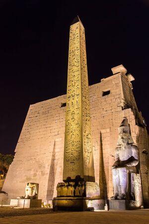 obelisk stone: The red granite obelisk at entrance of Luxor Temple - Egypt