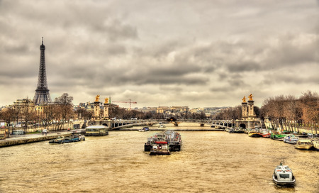 The Eiffel Tower and the Pont Alexandre III over the Seine river - Paris
