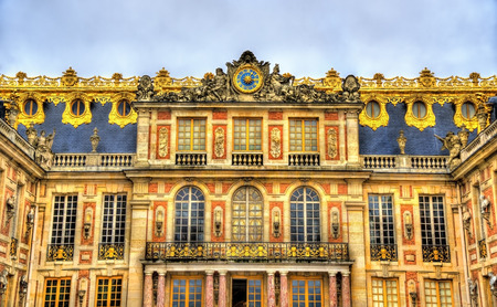 louis the rich heritage: Facade of the Palace of Versailles - France Editorial