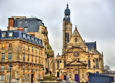 dramatist: Statue of Pierre Corneille and the church of Saint-Etienne-du-Mont in Paris
