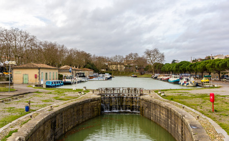du: The Canal du Midi in Carcassonne - France Stock Photo