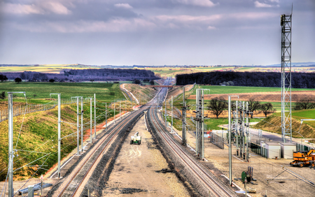 est: High-speed railway LGV Est phase II under construction near Saverne, France. To be opened in 2016. Stock Photo