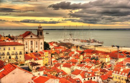 tagus: View Lisbon and the Tagus river - Portugal
