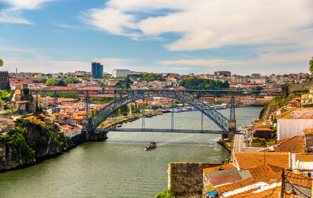 dom: View of Porto with the Dom Luis Bridge - Portugal Editorial
