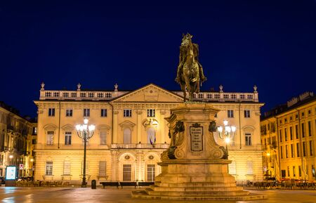conservatory: Statue and Conservatory on Bodoni square in Turin - Italy